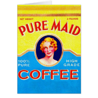 Retro Vintage Kitsch Ad Pure Made Coffee Can Card