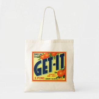 Retro Vintage Kitsch Advertising Fruit Art Get It Bag
