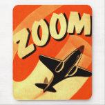 Retro Vintage Kitsch Aeroplane Planes Zoom Mouse Pad