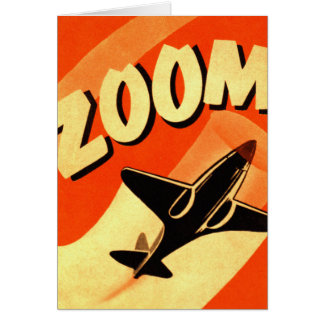 Retro Vintage Kitsch Airplane Planes Zoom Card