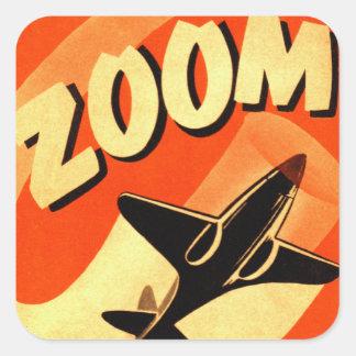 Retro Vintage Kitsch Airplane Planes Zoom Square Sticker