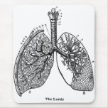 Retro Vintage Kitsch Anatomy Medical Lungs Mouse Pad