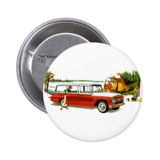 Retro Vintage Kitsch Auto 60 s Station Wagon Trip Button