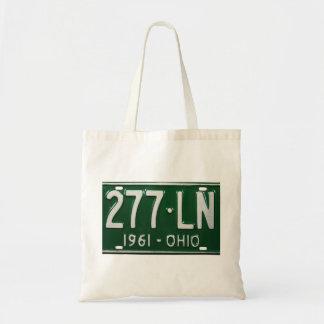 Retro Vintage Kitsch Auto Ohio 1961 License Plate Budget Tote Bag
