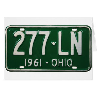 Retro Vintage Kitsch Auto Ohio 1961 License Plate Greeting Card