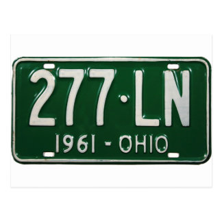 Retro Vintage Kitsch Auto Ohio 1961 License Plate Postcard