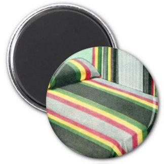 Retro Vintage Kitsch Bed Spread Carnival Stripes 6 Cm Round Magnet