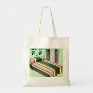 Retro Vintage Kitsch Bed Spread Carnival Stripes Budget Tote Bag