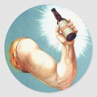 Retro Vintage Kitsch Brew Beer Malt Bottled Vigor Round Sticker