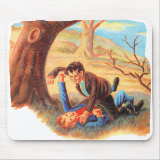 Retro Vintage Kitsch Bully Kids Fist Fighting Mouse Pad