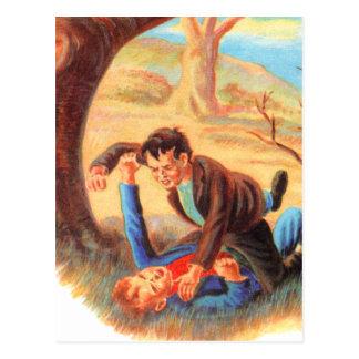 Retro Vintage Kitsch Bully Kids Fist Fighting Postcard