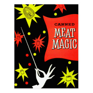 Retro Vintage Kitsch Canned Meat Magic Postcard