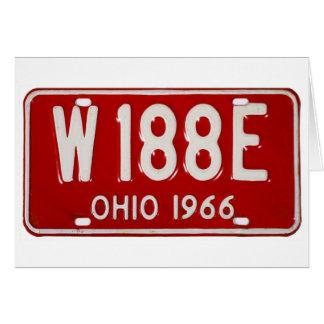 Retro Vintage Kitsch Car License Plate Ohio 1966 Greeting Card