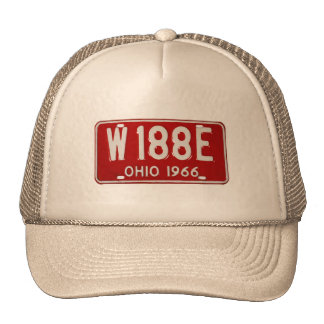 Retro Vintage Kitsch Car License Plate Ohio 1966 Mesh Hat