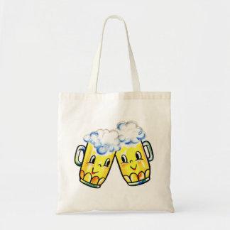 Retro Vintage Kitsch Cartoon Beer Lovers Mugs Budget Tote Bag