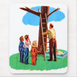 Retro Vintage Kitsch Childrens Book Cat In Tree Mouse Pad