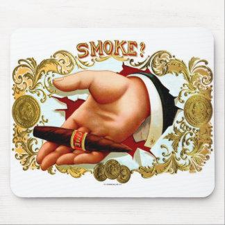Retro Vintage Kitsch Cigar Box Art 'Smoke?' Mouse Pad