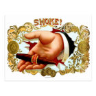 Retro Vintage Kitsch Cigar Box Art 'Smoke?' Postcard