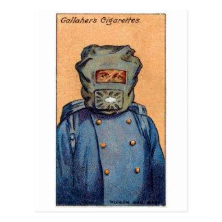 Retro Vintage Kitsch Cigarette Card 'Gas Mask' Postcard