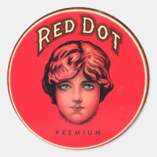 Retro Vintage Kitsch Cigars Red Dot Cigar Tin Classic Round Sticker