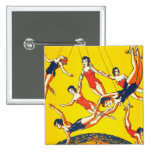 Retro Vintage Kitsch Circus Trapeze Artists Buttons