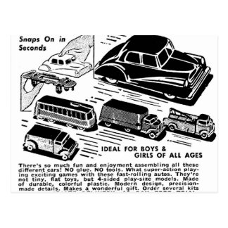 Retro Vintage Kitsch Comic Book Ad Plastic Toy Car Postcard