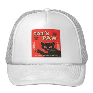 Retro Vintage Kitsch Condom Package Cat's Paw Trucker Hat