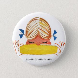 Retro Vintage Kitsch Corn On The Cob Cartoon Girl 6 Cm Round Badge