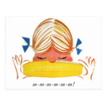 Retro Vintage Kitsch Corn On The Cob Cartoon Girl Postcards