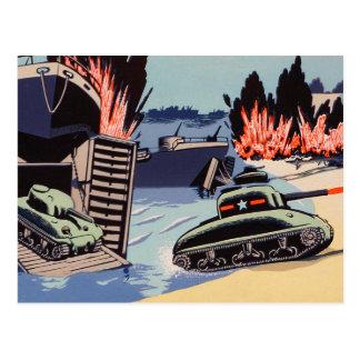 Retro Vintage Kitsch D-Day Tanks on The Beach Postcard