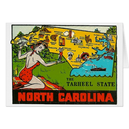Retro Vintage Kitsch Decal North Carolina Pin Up Card