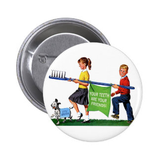 Retro Vintage Kitsch Dentist Kids Giant Toothbrush 6 Cm Round Badge