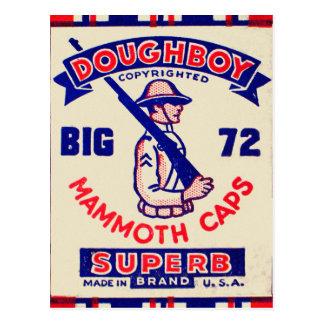 Retro Vintage Kitsch Doughboy Mammoth Caps Postcard