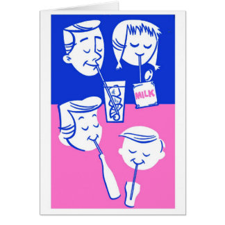 Retro Vintage Kitsch Family Drinking With Straws Card