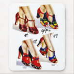 Retro Vintage Kitsch Fashion 40s Women's Shoes Mouse Pad