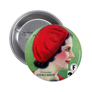 Retro Vintage Kitsch Fashion Red French Beret Ad Button