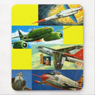 Retro Vintage Kitsch Fighter Jets Illustrations Mouse Pad