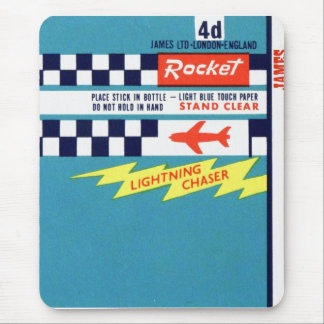 Retro Vintage Kitsch Firework Bottle Rocket Label Mouse Pad