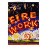 Retro Vintage Kitsch Fireworks Firecracker Sign Card