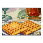 Retro Vintage Kitsch Food 40s Nutty Waffles Art Greeting Card