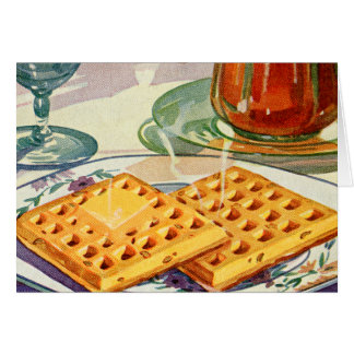 Retro Vintage Kitsch Food 40s Nutty Waffles Art Greeting Card