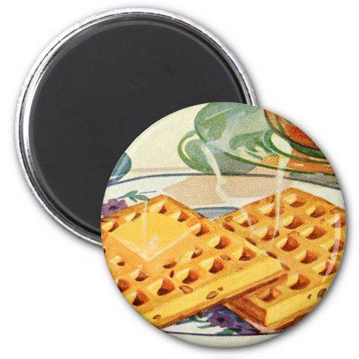 Retro Vintage Kitsch Food 40s Nutty Waffles Art Fridge Magnets