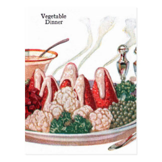 Retro Vintage Kitsch Food 50s Vegetable Dinner Art Postcard