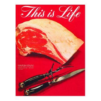 Retro Vintage Kitsch Food Beef Roast This is Life Postcard
