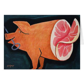 Retro Vintage Kitsch Food Pork Pig 'Sliced Ham' Card