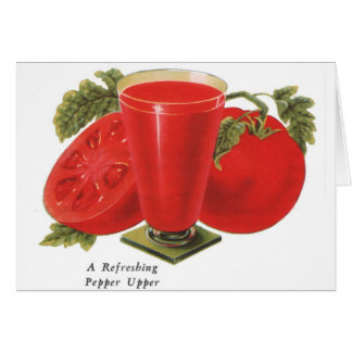 Retro Vintage Kitsch Food Tomatoes Tomato Juice Card