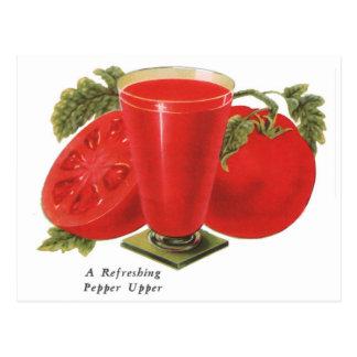 Retro Vintage Kitsch Food Tomatoes Tomato Juice Postcard