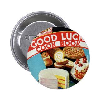 Retro Vintage Kitsch Good Luck Cook Book Margarine Pin