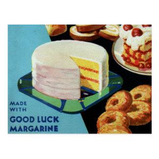 Retro Vintage Kitsch Good Luck Cook Book Margarine Postcard