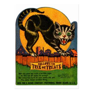 Retro Vintage Kitsch Halloween Black Cat Candy Postcard